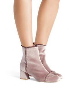 Stuart Weitzman Onthefringe Velvet Block Heel Booties $575 Size 9M # M3 108 B