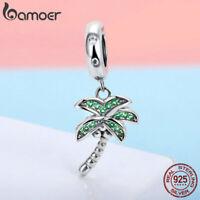 Women Authentic S925 Sterling Silver Charm coconut tree  Cz Charms Fit Bracelet