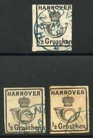 GERMANY STATES HANOVER SCOTT# 18 MICHEL# 17 USED LOT OF 3 AS SHOWN