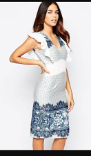 Traffic People Pandora Loves Wiggle Dress In Border Print. Small.White Blue.ASOS