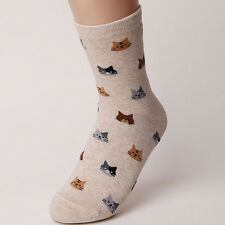 Fashion Women 5 Colors 1 Pair Lovely Animal Cat Pattern Soft Socks Xmas Gift Creamy-white