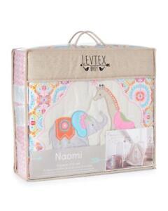 LEVTEX Baby NAOMI Crib Set Bedding Set Girls Jungle Theme Elephant Giraffe NWT