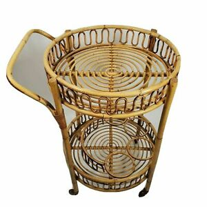 Mid-Century Bamboo and Rattan Bar Cart - Made in Italy