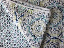 CYNTHIA ROWLEY Medallion 2pc TWIN Quilt SET Teal Blue Green Gray FLORAL Cotton