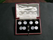 Gents 9ct Gold & Platinum & Mother of Pearl Cufflinks and Studs Set