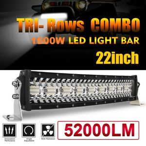 "Tri-Row 22inch 1600W Curved LED Light Bar Spot Flood Truck Offroad VS 20""24""26"""