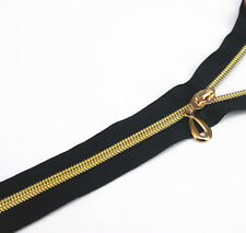 5pc 40cm Length Zippers Black Open End Metal Gold Teeth Sewing Zippers for Cloth