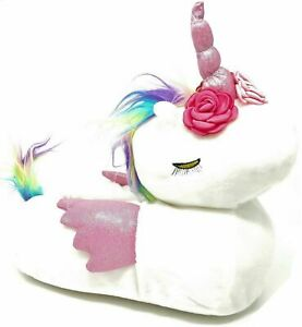 Ladies Unicorn Slippers Womens Teens White Pink Fluffy 3D Novelty Shoes Size 3-8