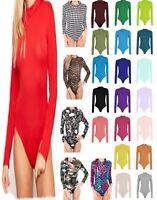 Womens Long Sleeve Plain High Polo Roll Turtle Neck Bodysuit Leotard Top 8-26