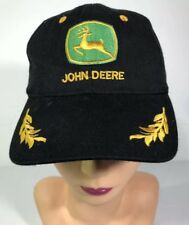 VINTAGE STRAPBACK HAT TRUCKER JOHN DEERE PATCH USA FARMER BLACK GOLD WINGS