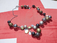 """37"""" necklace with silver, bronze,gold and grey mettalic beads"""