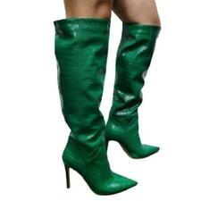 Women's High Heel Pointy Toe Pull On Nightclub Cosplay Mid Calf Boots 45 46 47 L