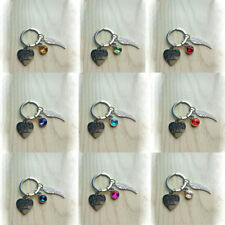 EG_ A Piece of My Heart Is in Heaven Memorial Key Chain Ring Wing Sympathy Dazzl