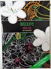 WildLife Neon Fun Adult Coloring Book