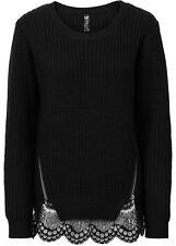 Damen Pullover mit Reißverschlüssen Rundhals SCHWARZ Größe 32/34 NEU
