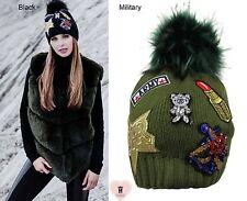 Alex Max 1734 unique designer embellished Fur Pon Pon Hat - Military - Italy