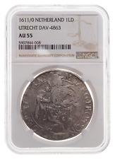 NETHERLANDS, Utrecht. Silver Lion Daalder, 1611/0 Overdate, NGC AU55