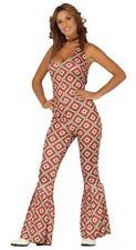 Ladies 60s 70s Disco Hippie Jumpsuit Costume