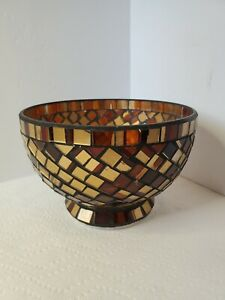 Brown Mosaic Glass Footed Decorative Bowl-Unmarked