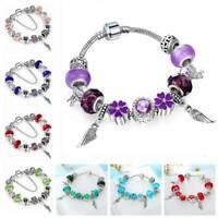 European Silver Plating Bracelet Feather Charm Murano Glass Beads Women Jewelry