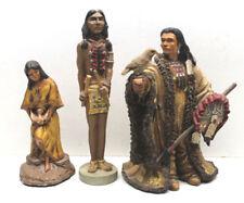 3 North American Indian Decorative Ceramic Statues Warrior Chief+Maiden+Native