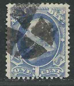 US Stamp O35 Navy 1c Blue Used Cork Canc Fine 1873 USD $50.00