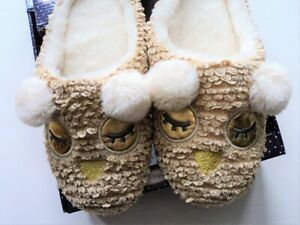 Character SLIPPERs OWL FACE Slip On Flats Size Small Medium 6-8 - FLASH SALE