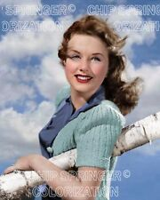 DEANNA DURBIN LEANING ON BIRCH TREE 8X10 BEAUTIFUL COLOR PHOTO BY CHIP SPRINGER