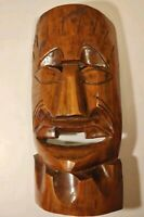 "Handcrafted Wood Carved Mask Tribal / Hawaiian / African Wall Mount hung 18""x9"""