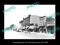 OLD LARGE HISTORIC PHOTO OF EMMETSBURG IOWA, VIEW OF MAIN ST & STORES c1930