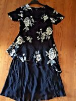 EVA BLUE PLUS Plus Style Roses WOMENS LINED LAYERED SHELL FLORAL DRESS SIZE 16