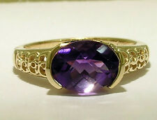 R160- Genuine Solid 9K 9ct Yellow GOLD NATURAL Amethyst Solitaire Ring size M