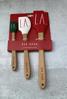 Rae Dunn Holiday Christmas FA LA LA 3 Piece Spatula Set Red White Green New
