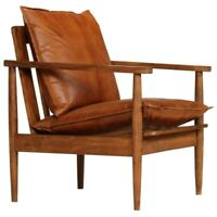 Mid Century Modern Leather Armchair - Brown/Walnut - Brand New - Free Shipping