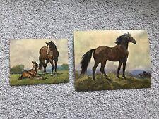 "Lot Of 2 Vintage Elmore Brown Litho Prints ""Horse & Horses"""
