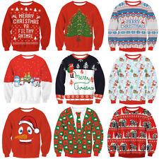 Red UGLY XMAS CHRISTMAS SWEATER Vacation Santa Elf Novelly Women Men Sweatshirt