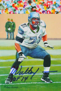 Walter Jones Signed Philadelphia Eagles Goal Line Art Card w/ HOF- Beckett *Blue