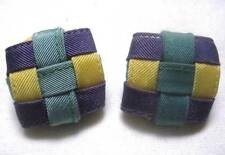 "Vintage Unique Stud Pierced Earrings 1970-80's Woven Fabric Strip Square 1 1/4"""
