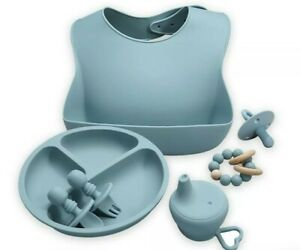 Blue Silicone Baby Feeding Set; 6pc bib, plate, utensils, cup cover, pacifier