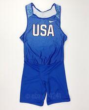 New Nike Men's L Team USA Digital Race Day Tight Unitard Blue 835898 $65