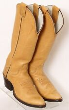 Olathe Boots Tan Leather Tall Pull On Cowboy Western Boots Women's US 7.5AA