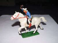 STARLUX FAR WEST CAVALIER COW BOY CHEVAL BLANC BLEU FUSIL EN L'AIR