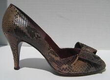 """Snakeskin Pumps Vintage Stuart Wietzman Mr Seymour sz 7 1/2 3"""" heel open toe bow"""