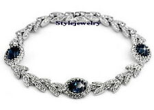 Silver Sapphire Blue Stone Wheat Style Bracelet Made With Swarovski Crystal T31