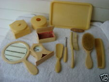 Antique French Ivory-Celluloid 11 Piece Vanity Items 1900s (without clock)