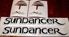 "Sea Ray Sundancer Decals fake drop shadow Black Gold  free shipping 6"" x 22.5"""