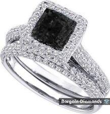 bridal black diamond 1.25 carats wedding engagement 14K white gold ring set