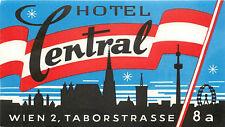 WIEN VIENNA AUSTRIA HOTEL CENTRAL VINTAGE LUGGAGE LABEL