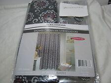 NEW Popular Bath Floral Bandana 13pc Shower Curtain Hooks Set Black