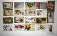 LOT OF 40  BIRTHDAY ANTIQUE  POSTCARDS FLOWERS FLORAL